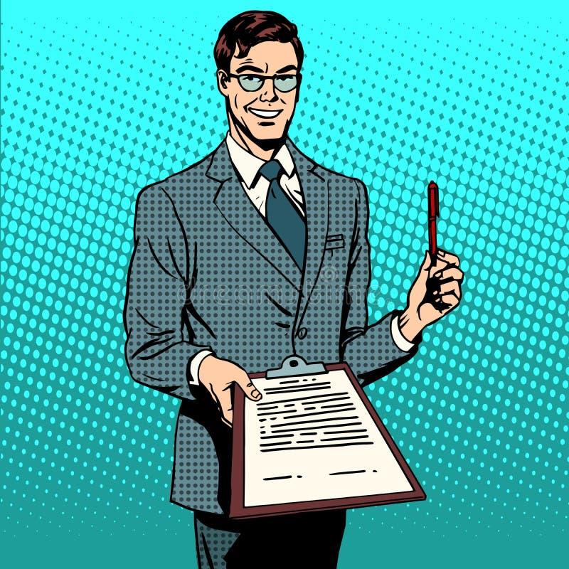 Documento di firma della firma di contratto royalty illustrazione gratis