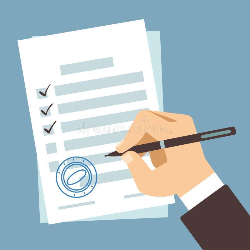 Documento di firma della mano maschio, scrittura dell'uomo sul contratto di carta, illustrazione di vettore della forma di impost illustrazione vettoriale