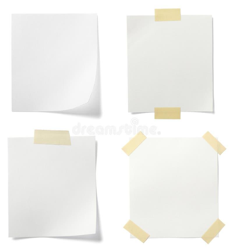 Documento di nota bianco fotografie stock libere da diritti