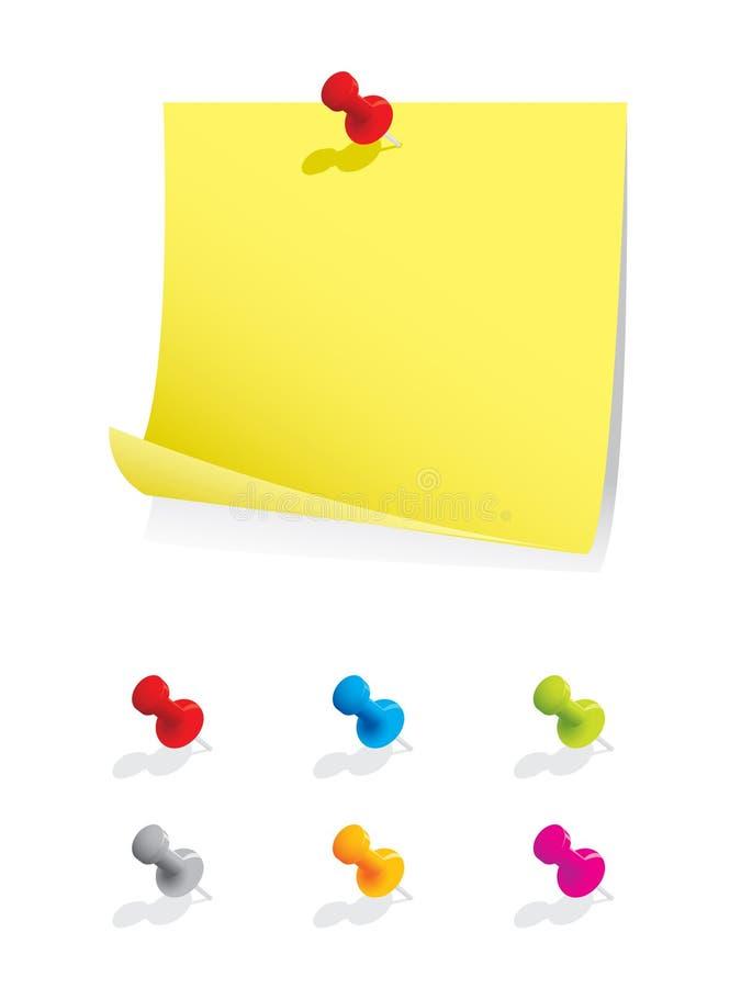 Documento di nota in bianco con i perni colourful illustrazione vettoriale
