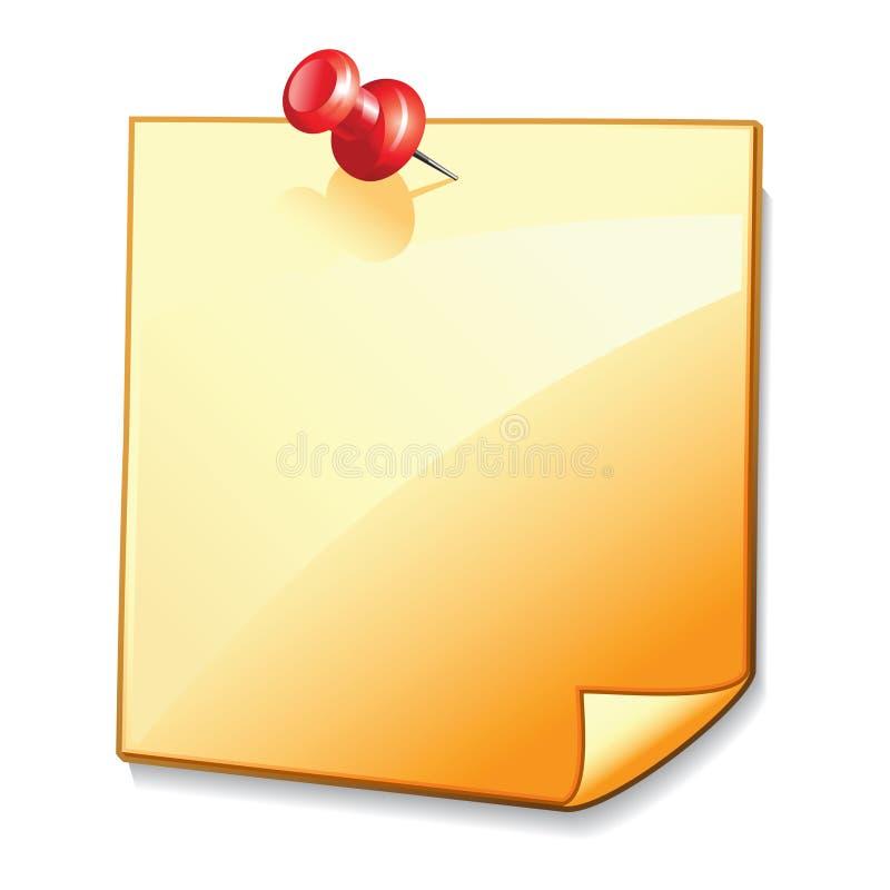 Documento di nota in bianco con pin2 illustrazione di stock