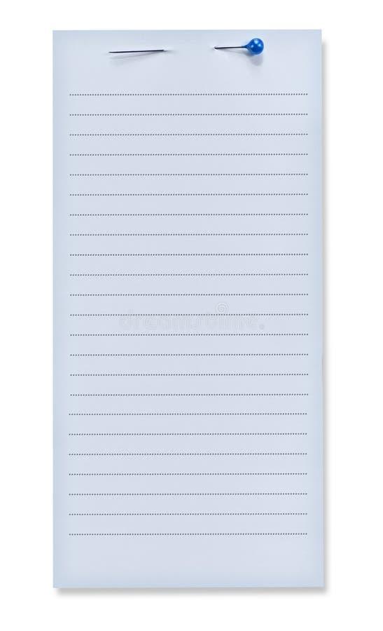 Documento di nota blu con il Pin immagini stock