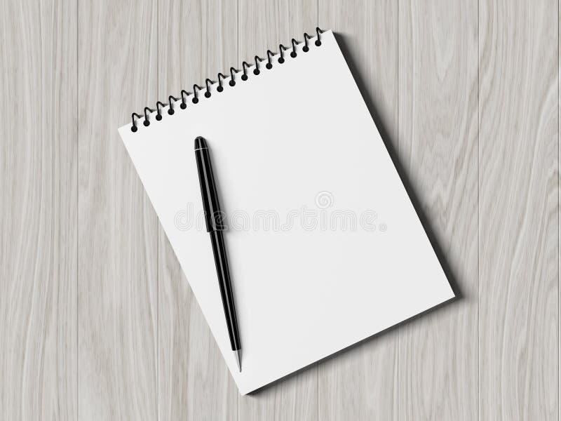 Documento di nota con la penna su priorità bassa di legno fotografia stock