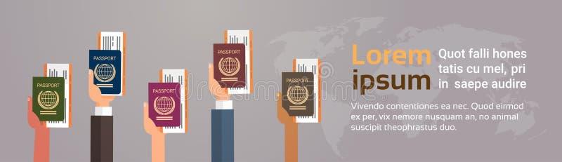 Documento di viaggio del passaggio di imbarco del biglietto del passaporto della tenuta del gruppo delle mani sopra il fondo dell royalty illustrazione gratis