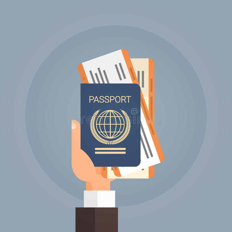 Documento di viaggio del passaggio di imbarco del biglietto del passaporto della tenuta della mano illustrazione vettoriale