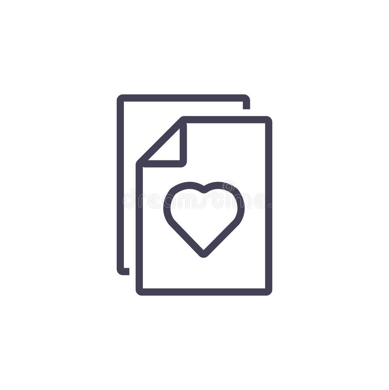 Documento e icono del corazón, línea e icono moderno libre illustration