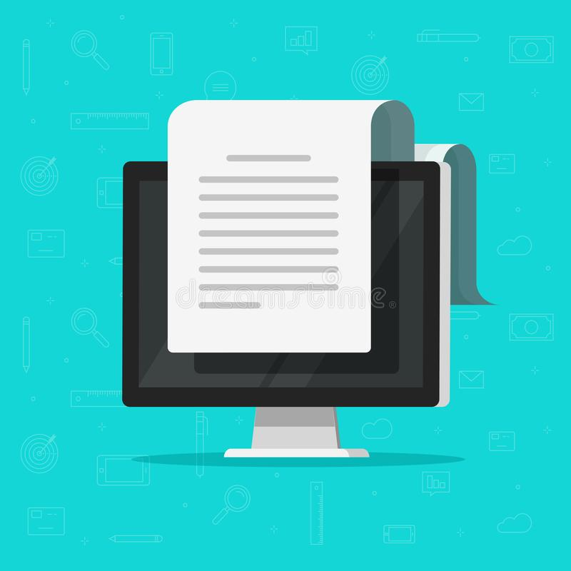 Documento eletrónico na ilustração do vetor do computador, papel grande longo doc do projeto liso dos desenhos animados na exposi ilustração do vetor