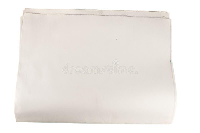 Documento en blanco del periódico sobre blanco aislado imagen de archivo libre de regalías