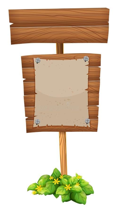Documento en blanco sobre muestra de madera stock de ilustración