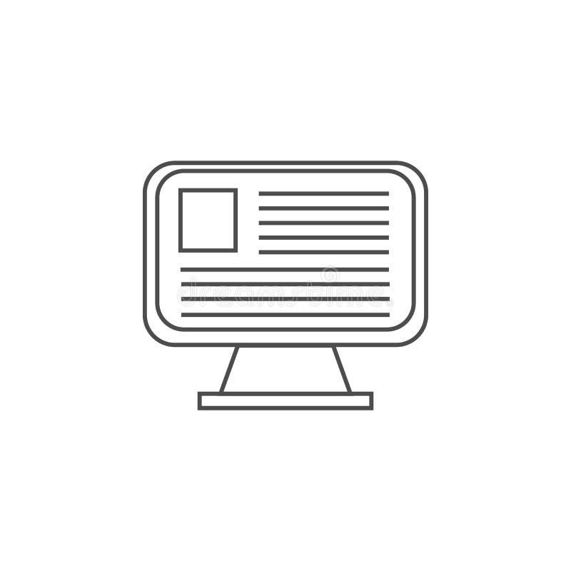 documento en el icono de la pantalla de monitor Elemento para los apps móviles del concepto y del web Línea fina icono para el di ilustración del vector