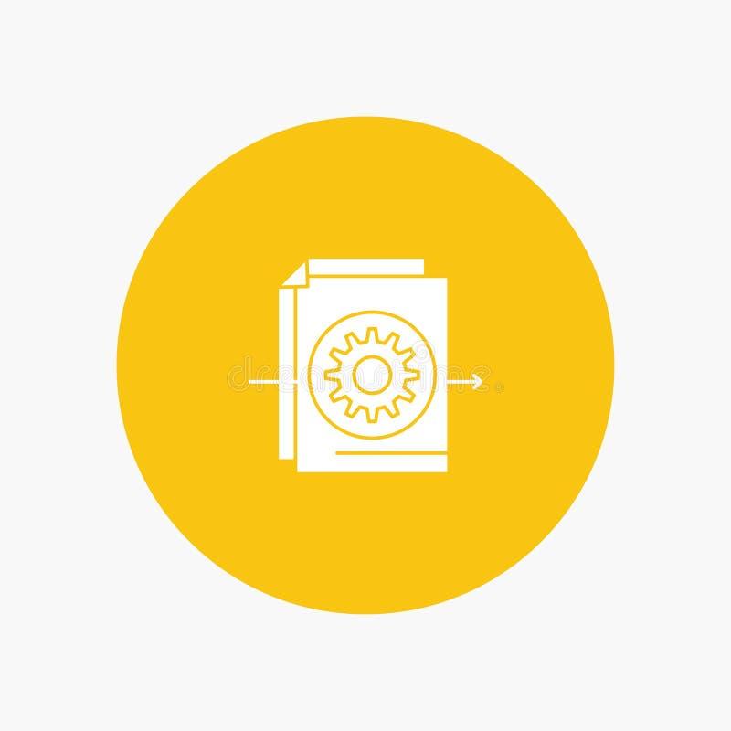 Documento, fichero, engranaje, ajustes ilustración del vector