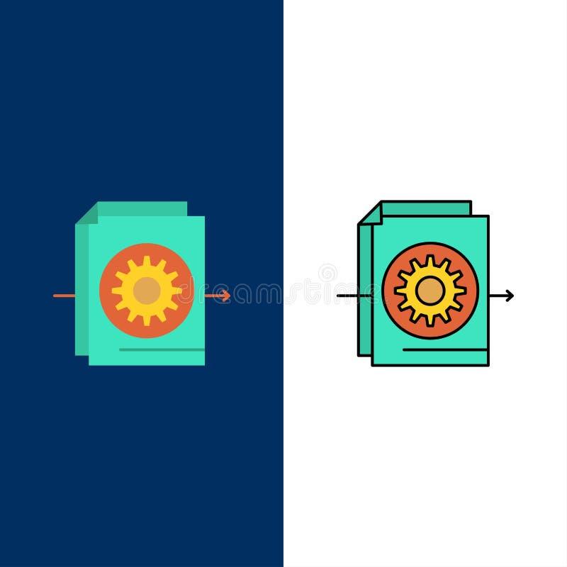Documento, fichero, engranaje, iconos de los ajustes El plano y la línea icono llenado fijaron el fondo azul del vector ilustración del vector