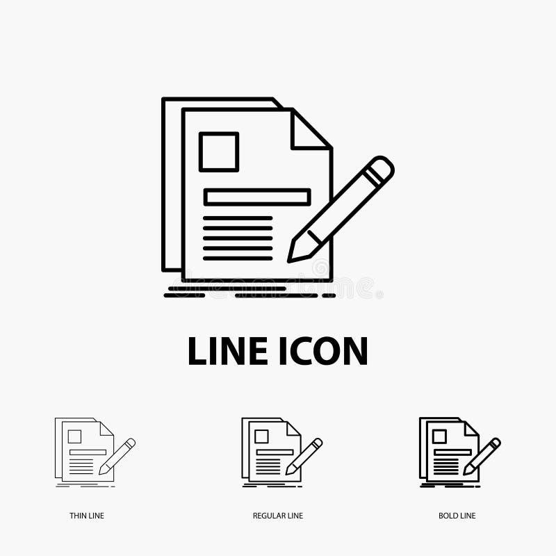 documento, fichero, página, pluma, icono del curriculum vitae en la línea estilo fina, regular e intrépida Ilustraci?n del vector ilustración del vector