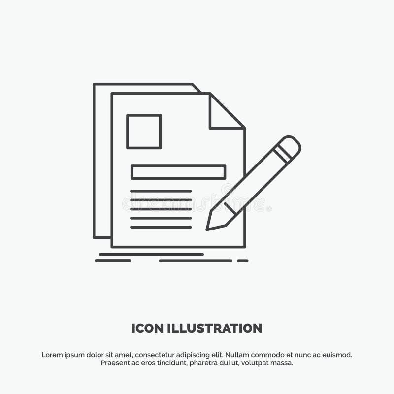 documento, fichero, página, pluma, icono del curriculum vitae L?nea s?mbolo gris del vector para UI y UX, p?gina web o aplicaci?n ilustración del vector