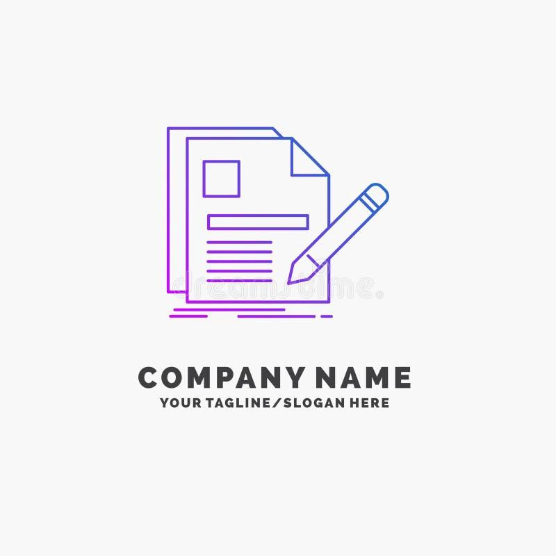 documento, fichero, página, pluma, negocio púrpura Logo Template del curriculum vitae Lugar para el Tagline ilustración del vector