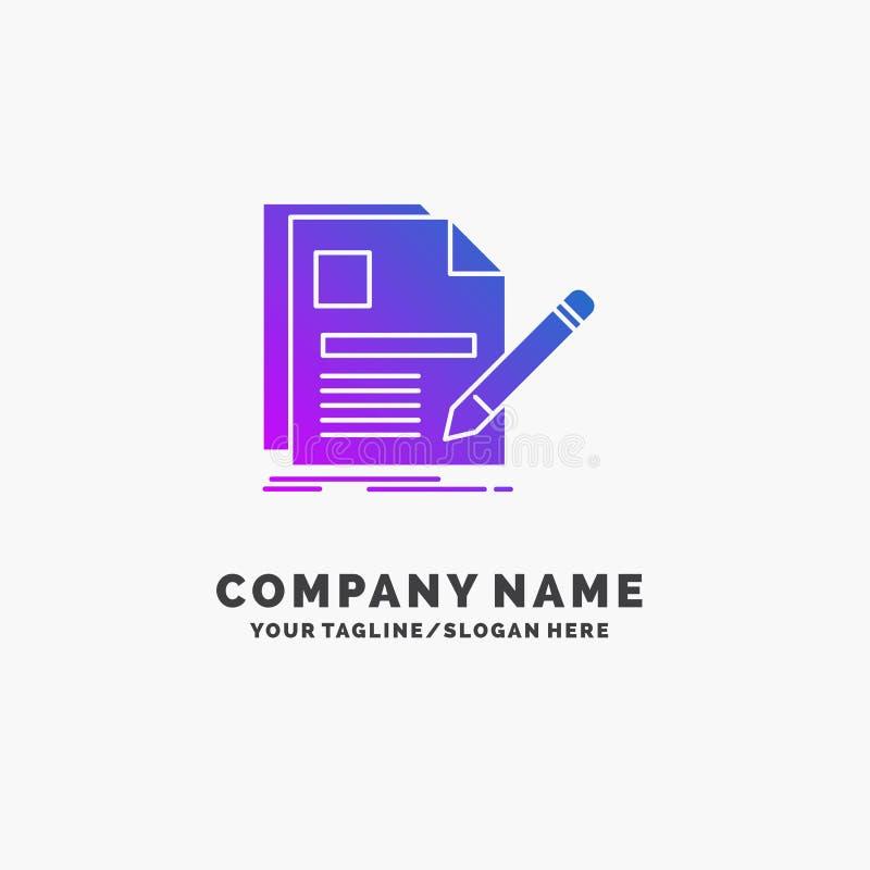 documento, fichero, p?gina, pluma, negocio p?rpura Logo Template del curriculum vitae Lugar para el Tagline ilustración del vector