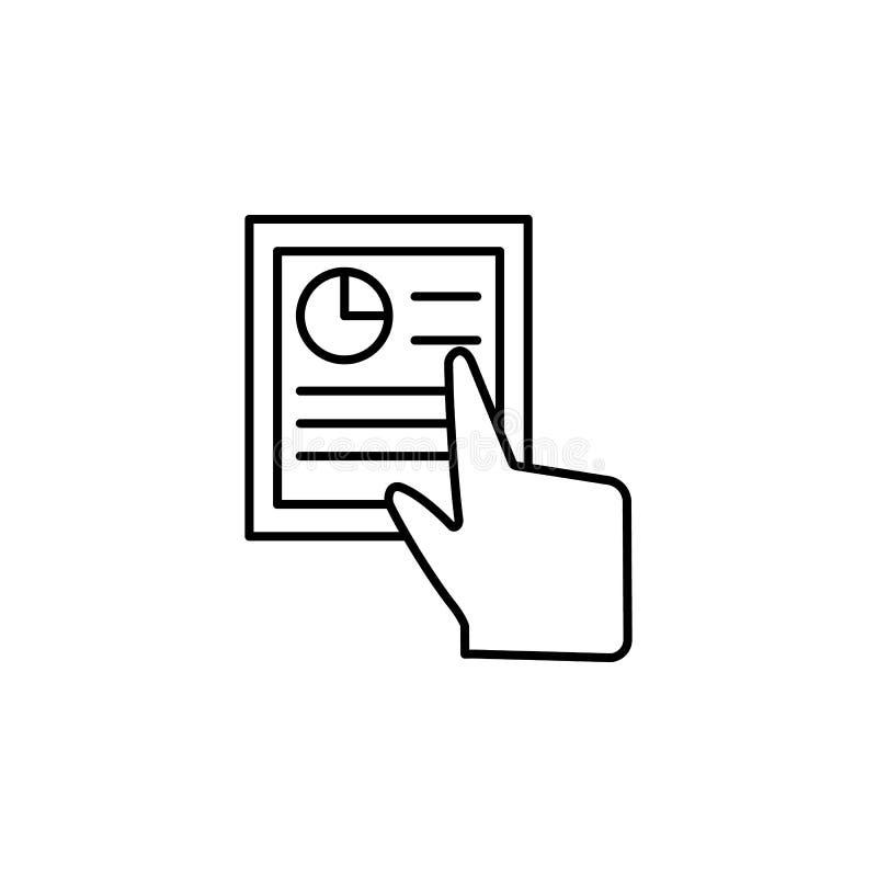 Documento, finger, tacto, icono de los gestos Elemento del icono de la corrupción L?nea fina icono en el fondo blanco libre illustration