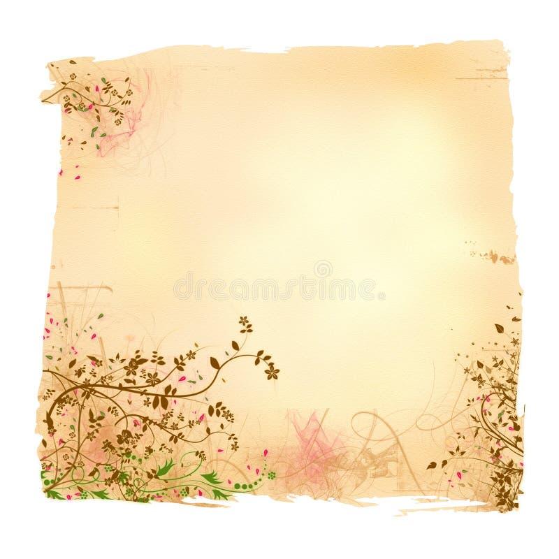 Documento floreale invecchiato illustrazione vettoriale