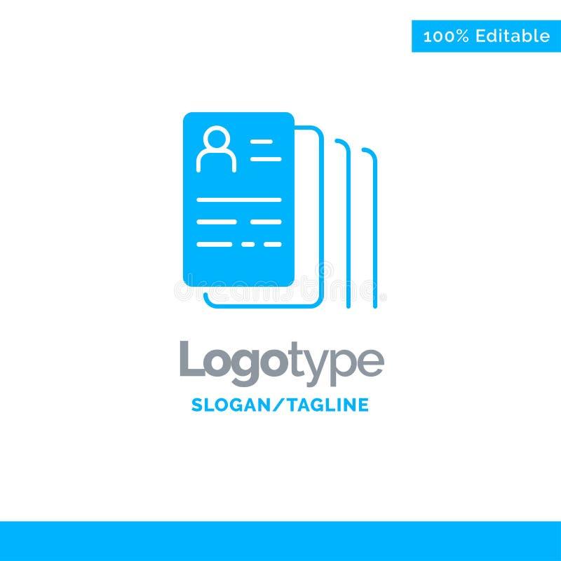 Documento, hallazgo, trabajo, búsqueda Logo Template sólido azul Lugar para el Tagline ilustración del vector