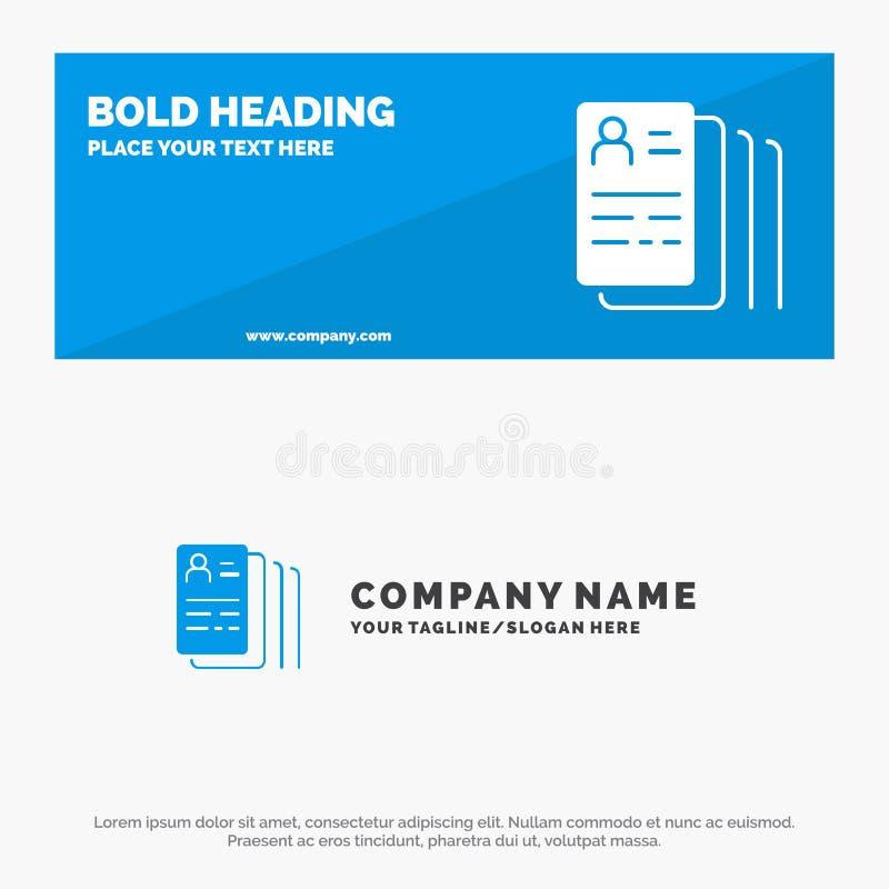 Documento, hallazgo, trabajo, bandera sólida y negocio Logo Template de la página web del icono de la búsqueda libre illustration