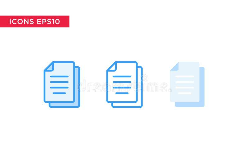 Documento, icono del fichero en línea, esquema, esquema llenado y estilo plano del diseño aislados en el fondo blanco Vector eps1 ilustración del vector