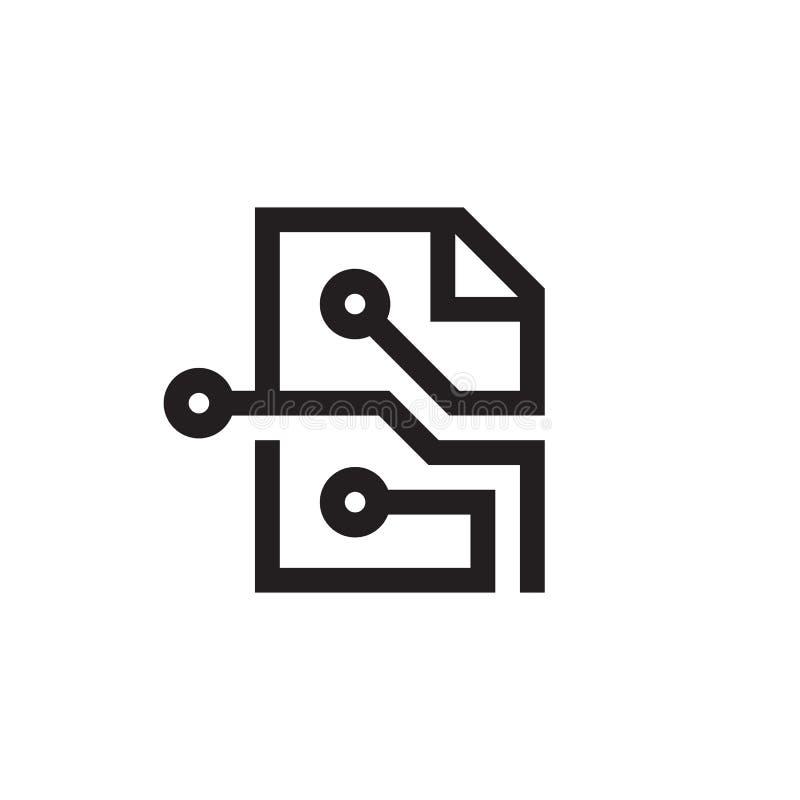 Documento informativo de fichero electrónico - icono del negro del concepto en la línea estilo Ilustración creativa del vector Ne stock de ilustración