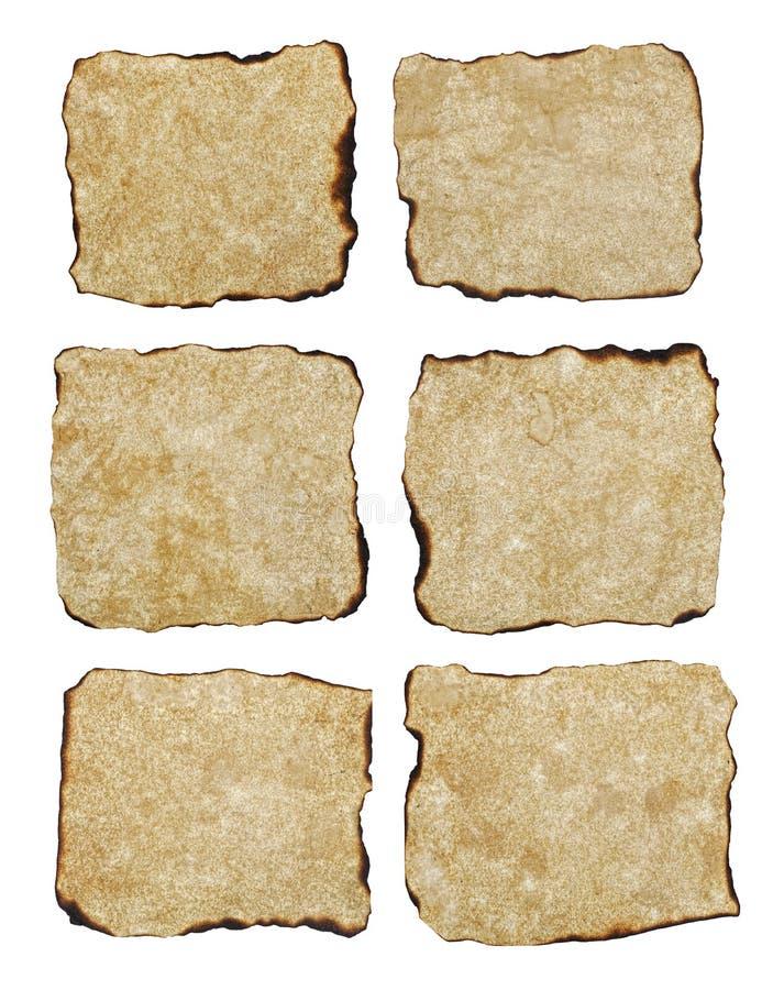 Documento invecchiato naturalmente bruciato di struttura sei fotografie stock libere da diritti