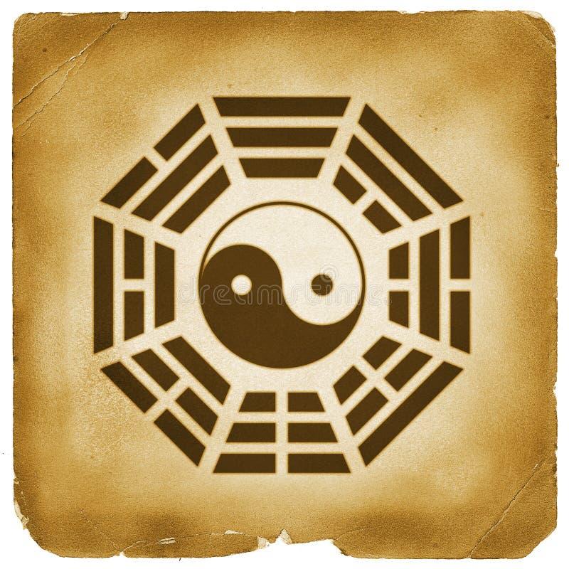 Documento invecchiato simbolo di Bagua Yin Yang illustrazione vettoriale