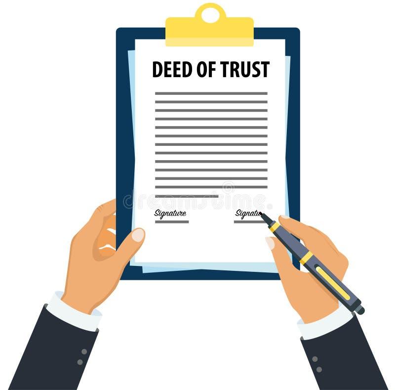 Documento legale di fiducia di firma esecutivo royalty illustrazione gratis