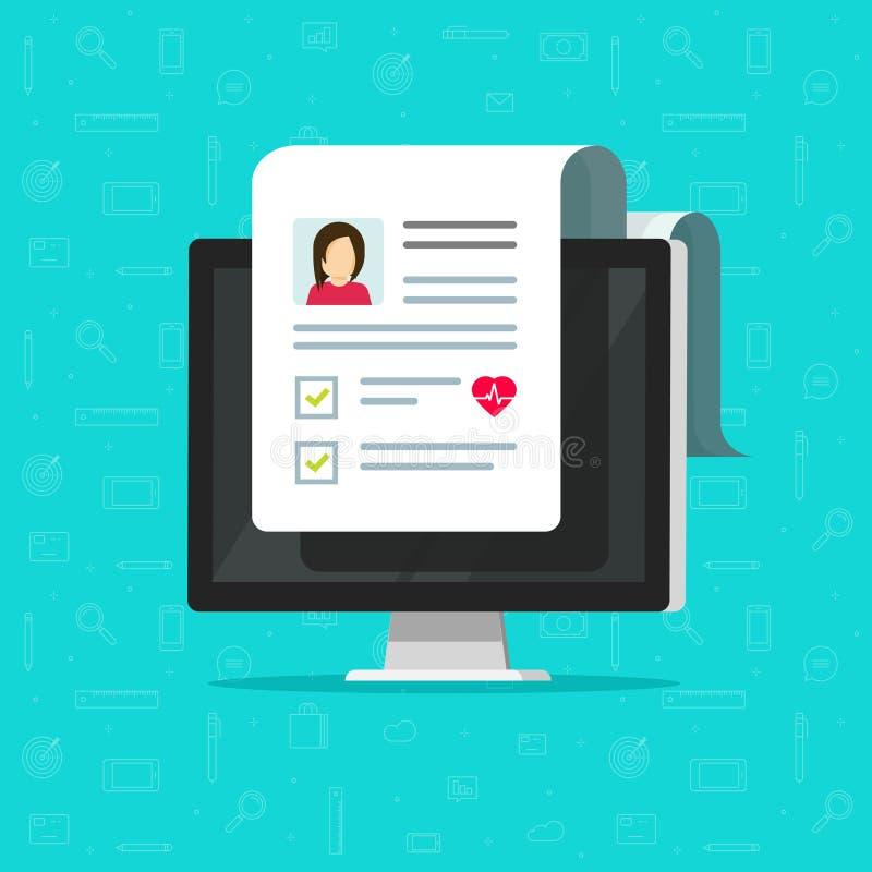 Documento médico en el icono del vector de la pantalla de ordenador, PC con resultados electrónicos sanos en línea de la lista de stock de ilustración