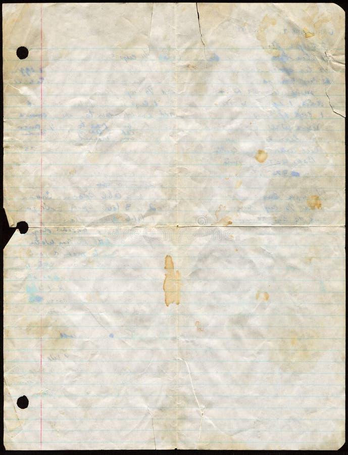 Documento macchiato dell'a fogli staccabili immagini stock