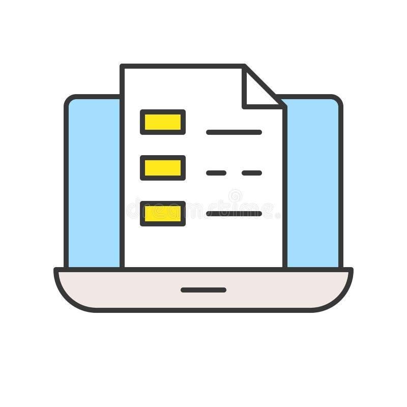 Documento o fichero en la pantalla del ordenador portátil, concepto del aprendizaje electrónico, editable libre illustration