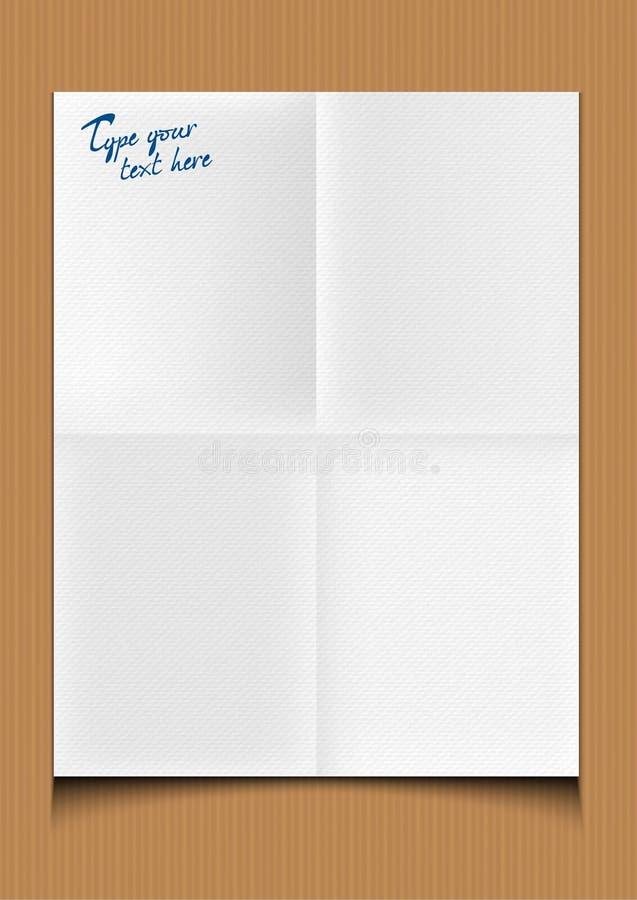Documento piegato illustrazione di stock