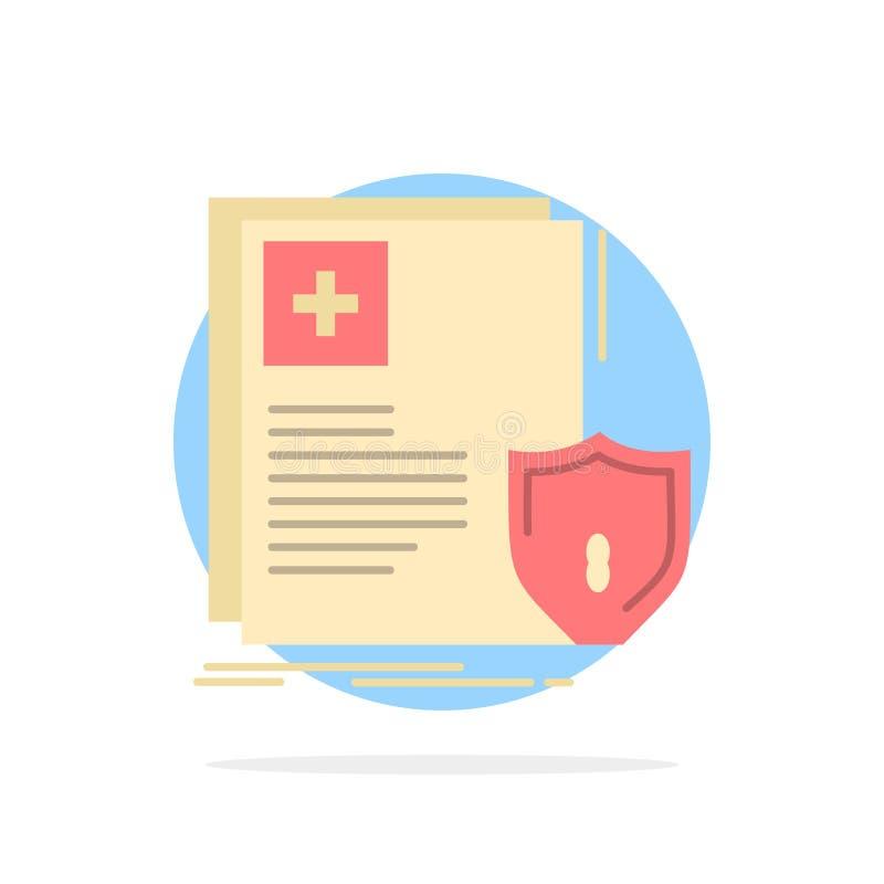 Documento, proteção, protetor, médico, do fundo abstrato do círculo da saúde ícone liso da cor ilustração do vetor