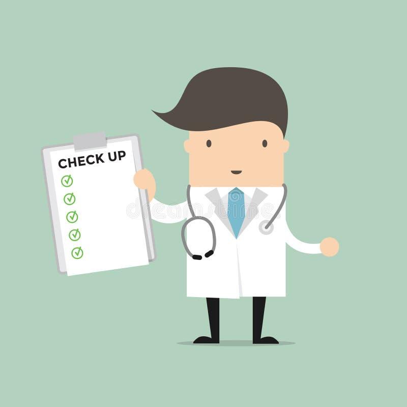 Documento rapporto di medico Holding Check Up illustrazione di stock