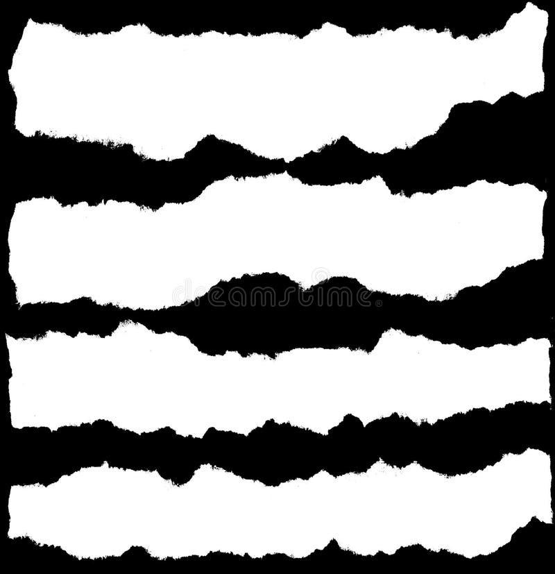 Documento rasgado blanco sobre negro ilustración del vector