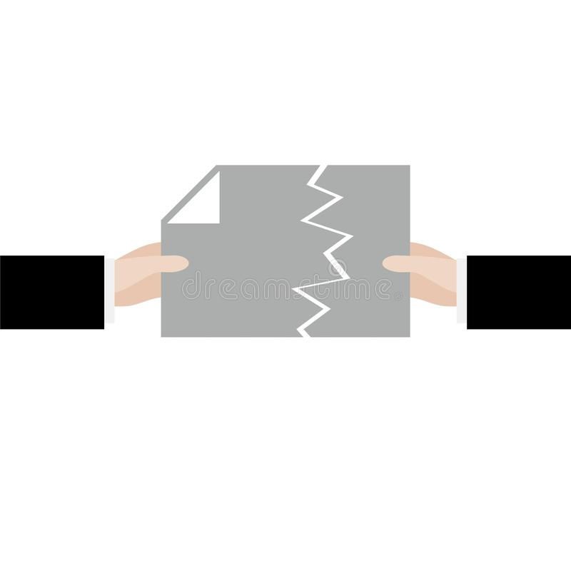 Documento rasgado, cancelamento do contrato ou sinal do acordo ilustração stock