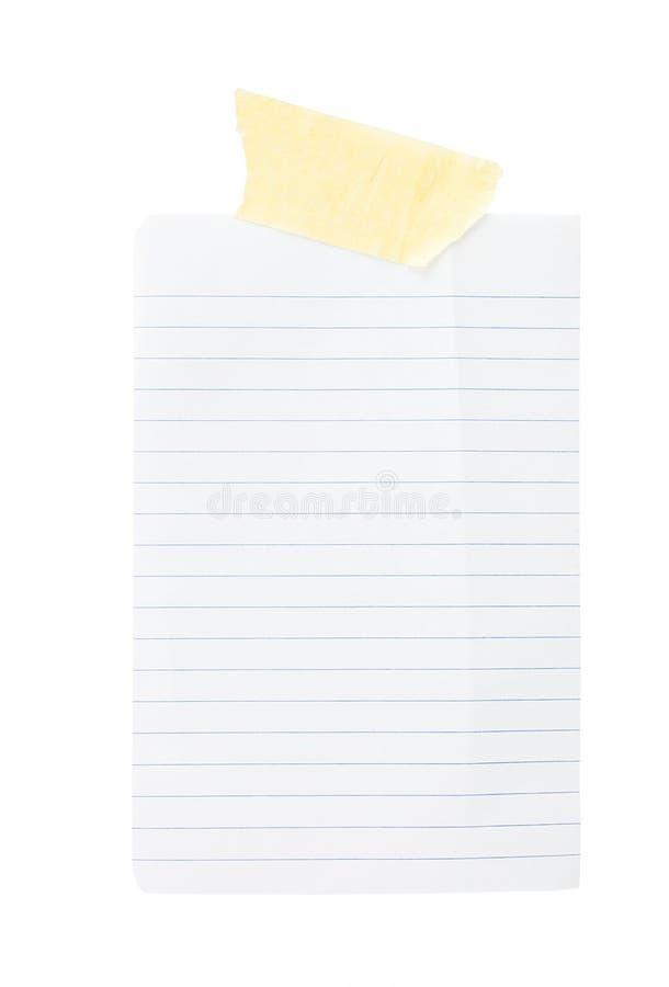 Documento in riga con nastro adesivo appiccicoso immagine stock