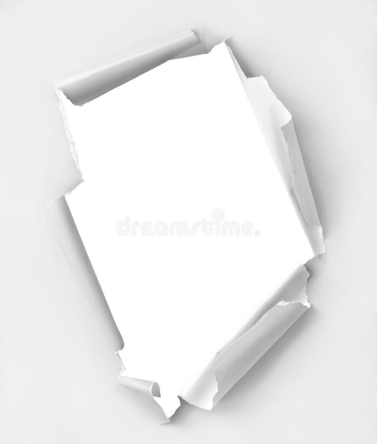 Documento strappato foro fotografia stock