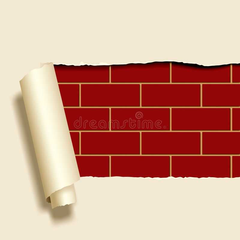 Documento strappato su un brickwall illustrazione vettoriale