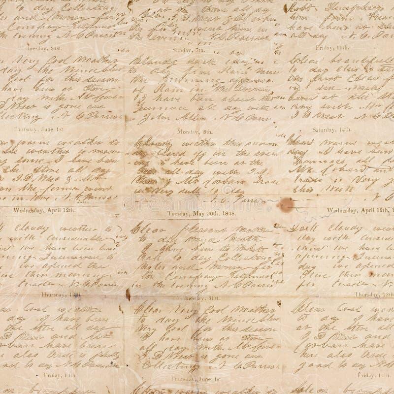 Documento strutturato piegato annata antica con lo scritto fotografie stock