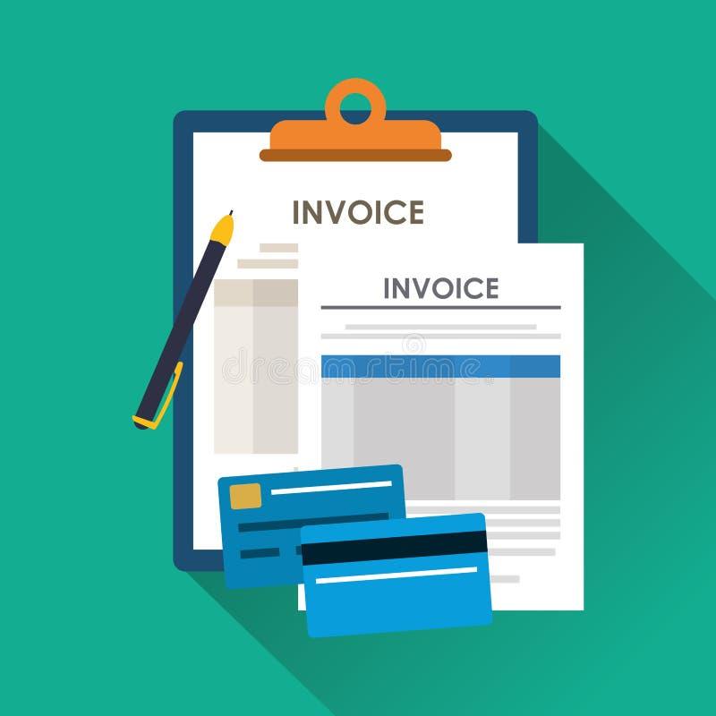 Documento y pendesign de la factura stock de ilustración