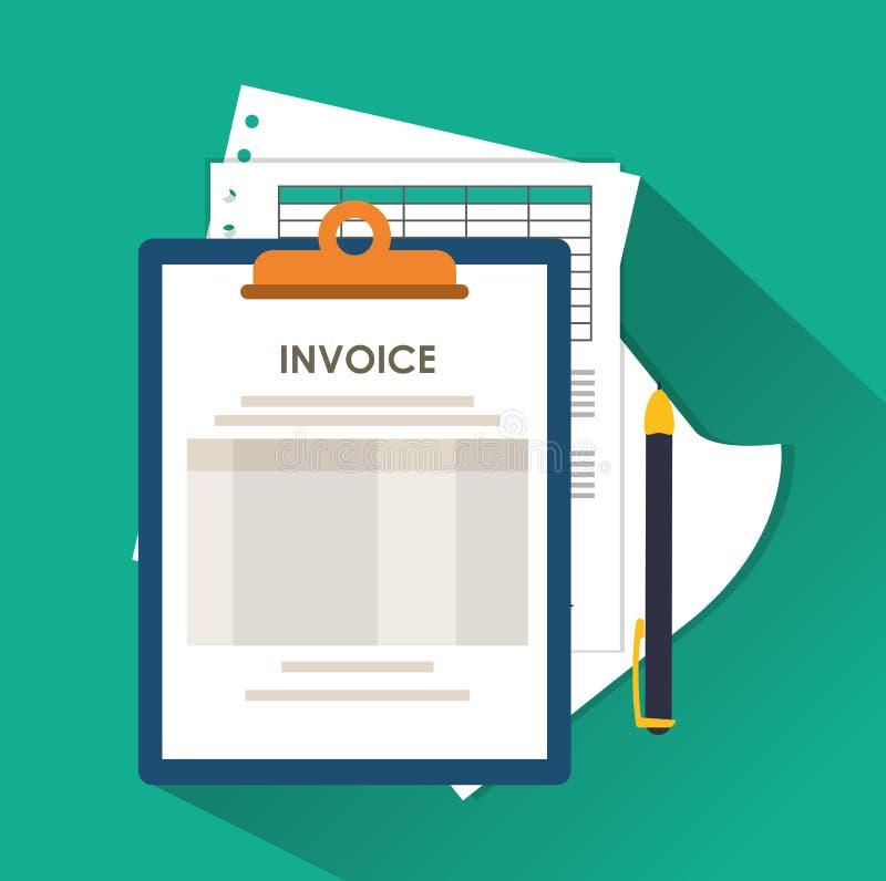 Documento y pendesign de la factura ilustración del vector