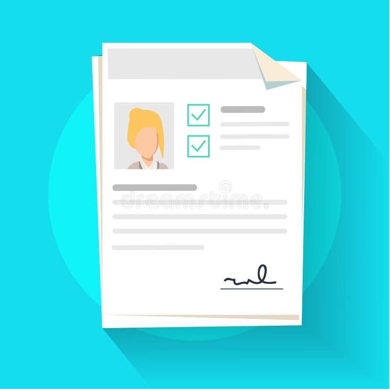 Documentos con el ejemplo personal de los datos, la pila plana o la pila del documento de papel de la historieta con perfil de us libre illustration