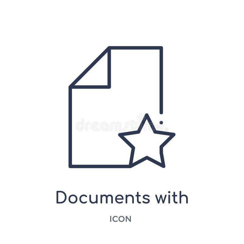 documentos con un icono de la estrella de la colección del esquema de la interfaz de usuario Línea fina documentos con un icono d stock de ilustración