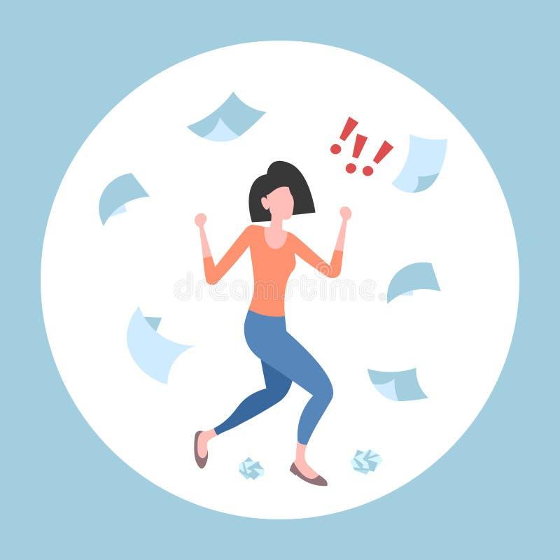 Documentos de conceito emocionais irritados de jogo da falha do problema do conflito da mulher de negócio das folhas de papel da  ilustração do vetor