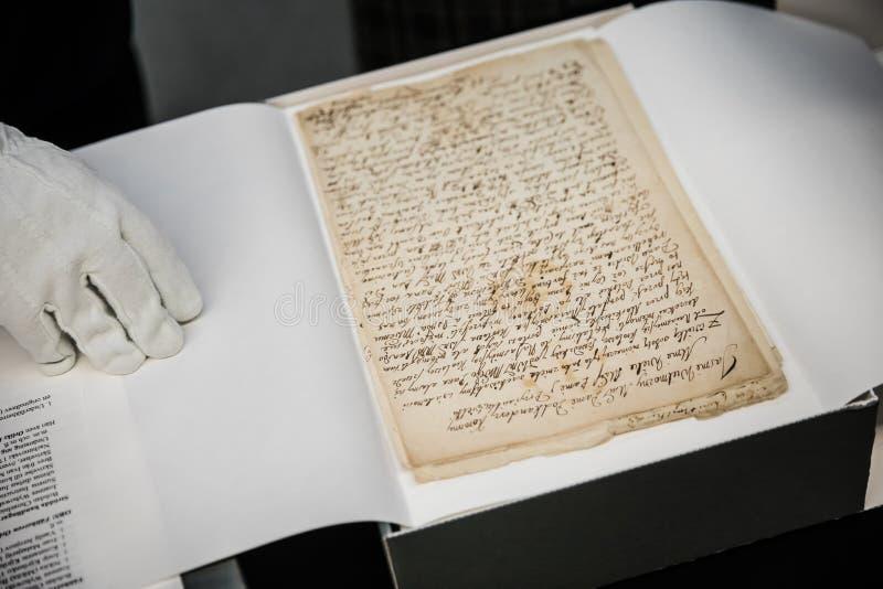 Documentos de los cosacos ucranianos almacenados en el archivo de estado de sueco fotografía de archivo