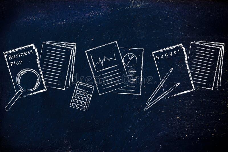Documentos de negocio: carpeta, stats y presupuesto imágenes de archivo libres de regalías