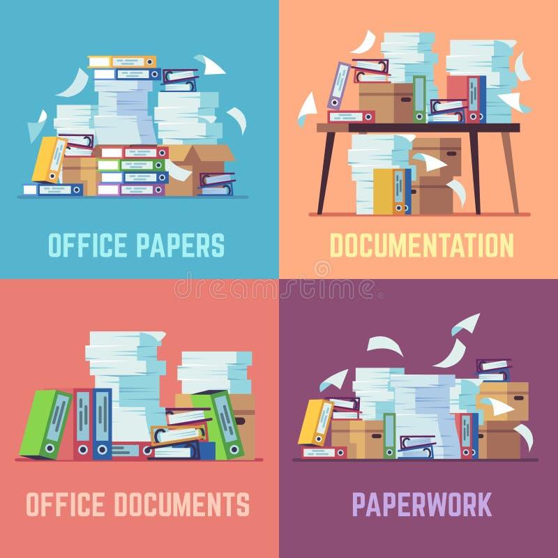 Documentos de papel de la oficina Papeleo rutinario de la burocracia, pila de los papeles que considera, carpetas de archivos api libre illustration