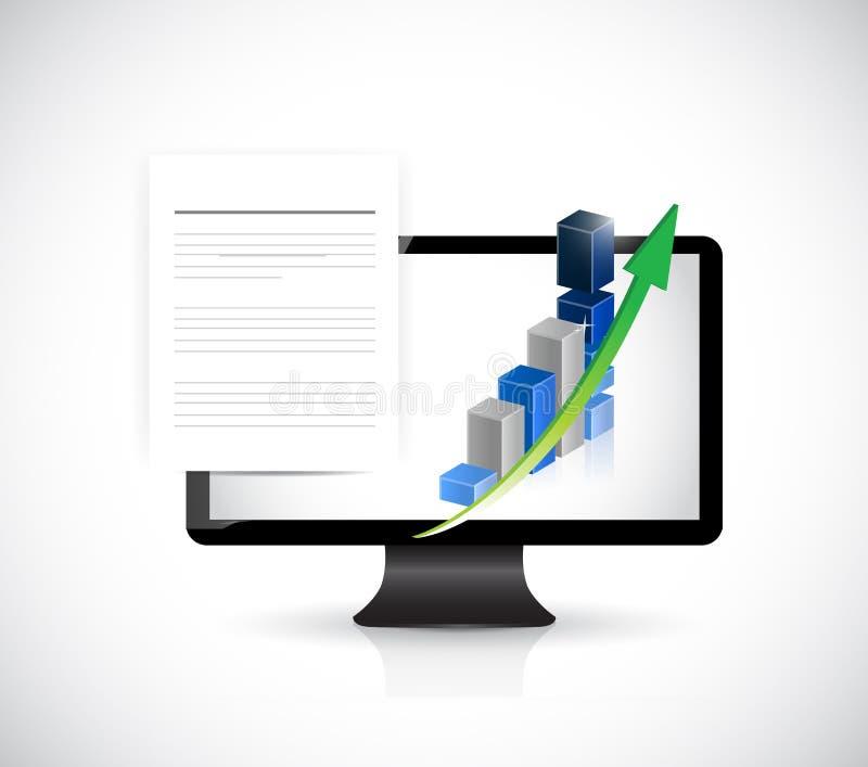Documentos del ordenador y gráficos de negocio. libre illustration